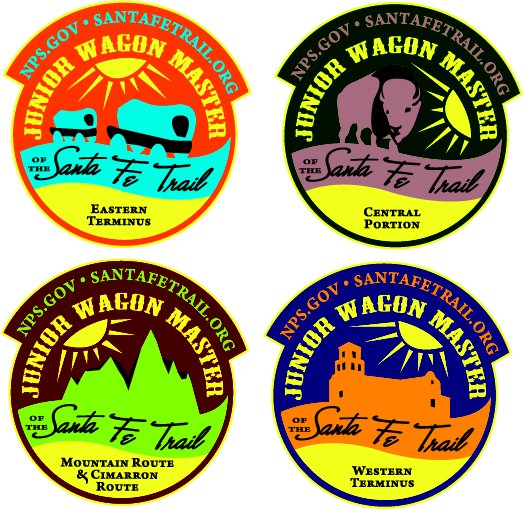 Four Junior Wagon Master patch designs for four sections of the Santa Fe Trail.