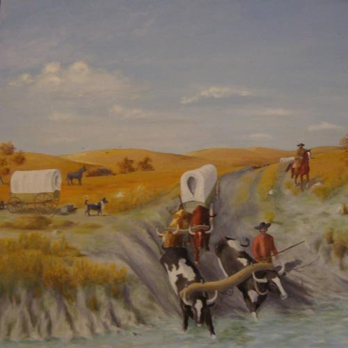 Painting of a scene depicting the Santa Fe Trail days including wagons, traders, oxen, ruts and river crossing.